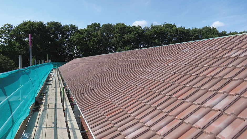Roof tiles and scaffold